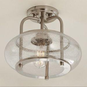 NEW SEEDED GLASS VINTAGE SEMI-FLUSH CEILING LIGHT